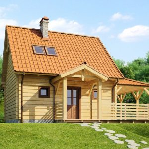 Фото 24 - Z57 - Проект небольшого дома с мансардой, с крытой боковой террасой.