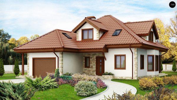 Фото 1 - Z58 - Проект просторного и уютного дома с гаражом, эркером, красивыми мансардными окнами.