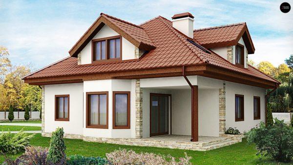 Фото 2 - Z58 - Проект просторного и уютного дома с гаражом, эркером, красивыми мансардными окнами.