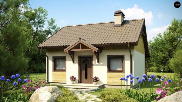 Фото 1 - Z60 - Выгодный в строительстве и эксплуатации маленький одноэтажный дом с крытой террасой.