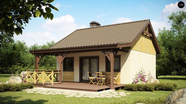 Фото 2 - Z60 - Выгодный в строительстве и эксплуатации маленький одноэтажный дом с крытой террасой.