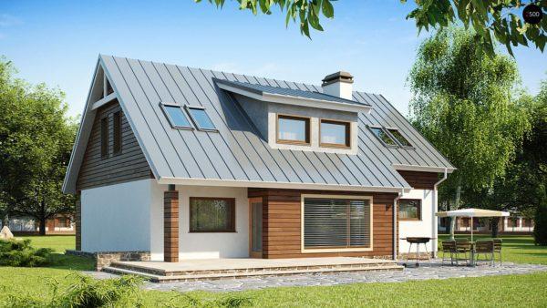 Фото 2 - Z68 - Проект функционального дома с современным мансардным окном, с дополнительной спальней на первом этаже.