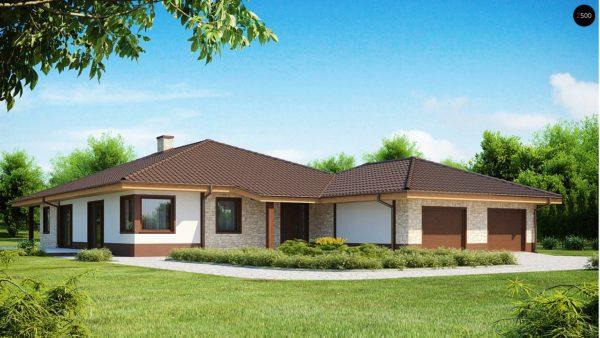 Фото 1 - Z82 - Комфортабельный одноэтажный дом для продольного участка с большим гаражом, с возможностью обустройства мансарды.