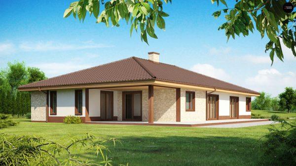 Фото 2 - Z82 - Комфортабельный одноэтажный дом для продольного участка с большим гаражом, с возможностью обустройства мансарды.