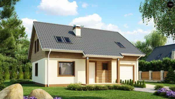 Фото 1 - Z88 - Проект традиционного дома с мансардой, со встроенным гаражом.