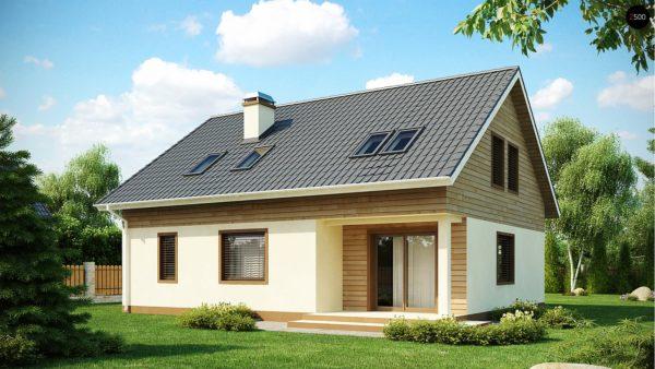 Фото 2 - Z88 - Проект традиционного дома с мансардой, со встроенным гаражом.