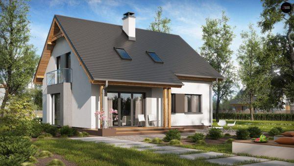 Фото 2 - Z92 - Проект практичного дома с большим хозяйственным помещением, с кабинетом на первом этаже.