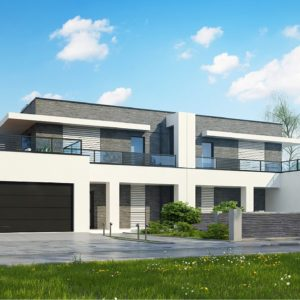 Фото 4 - Zb16 - Современный проект домов-близнецов с большим гаражом и террасой на втором этаже.