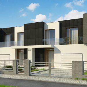 Фото 4 - Zb30 - Современный двухсемейный дом с плоской кровлей и гаражом справа.