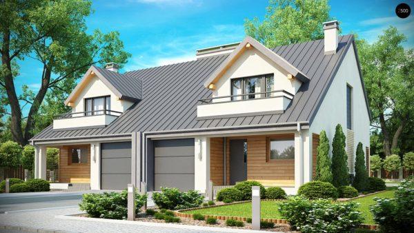 Фото 1 - Zb4 - Проект стильного, функционального и недорогого двухсемейного дома.