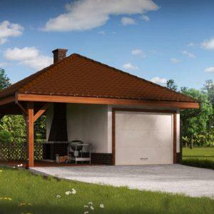 Фото 25 - Zg14 - Проект гаража для одного автомобиля, для коттеджей традиционного дизайна.