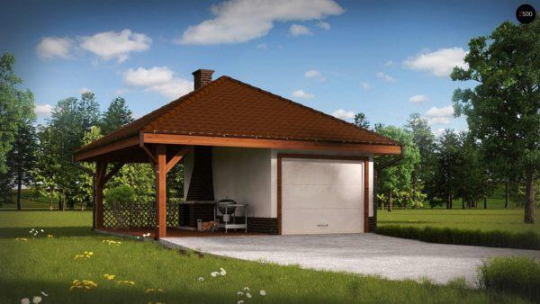 Фото 1 - Zg14 - Проект гаража для одного автомобиля, для коттеджей традиционного дизайна.