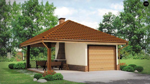 Фото 2 - Zg14 - Проект гаража для одного автомобиля, для коттеджей традиционного дизайна.