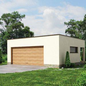 Фото 20 - Zg22 - Проект стильного гаража с плоской кровлей для двух машин.