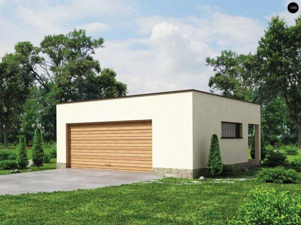 Фото 1 - Zg22 - Проект стильного гаража с плоской кровлей для двух машин.
