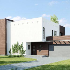 Фото 1 - Zx1 - Современный дом кубической формы с террасой над гаражом.