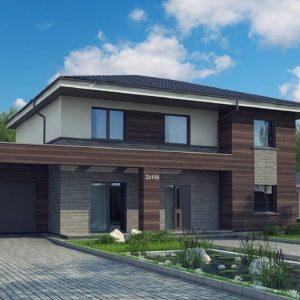 Фото 2 - Zx109 v1 - Проект двухэтажного дома простой формы с боковым гаражом.