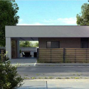Фото 26 - Zx117 - Современный одноэтажный дом хай-тек с навесом для автомобиля.