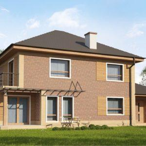 Фото 6 - Zx12 k - Проект комфортного двухэтажного дома с гаражом Фасады в кирпичной облицовке.