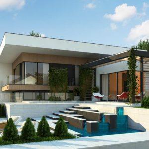 Фото 9 - Zx151 - Проект современного двухэтажного дома с большой площадью остекления.