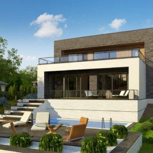 Фото 11 - Zx155 - Двухэтажный современный дом в стиле модерн.