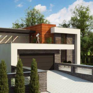 Фото 12 - Zx159 - Проект двухэтажного дома в современном стиле с гаражом для двух машин и просторной террасой  над ним.