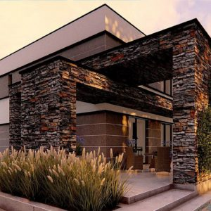 Фото 13 - Zx164 - Проект двухэтажного просторного дома с плоской кровлей и панорамным остеклением.