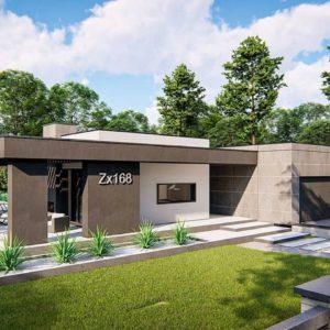 Фото 7 - Zx168 - Современный одноэтажный дом с внешним камином.