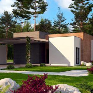 Фото 9 - Zx183 - Одноэтажный дом с плоской кровлей в современном стиле и навесом для двух машин.