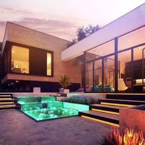 Фото 1 - Zx190 - Проект современного дома с плоской кровлей и подземным гаражом.
