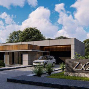Фото 12 - Zx209 - Современный одноэтажный дом c плоской кровлей и просторным гаражом для двух автомобилей.