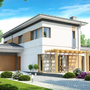 Фото 17 - Zx25 - Проект удобного двухэтажного дома в стиле модерн с боковым гаражом.