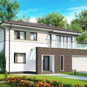 Фото 18 - Zx26 - Практичный двухэтажный дом простой формы  с низкой крышей, с гаражом для двух автомобилей.