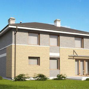 Фото 19 - Zx29 k - Комфортабельный двухэтажный дом простого современного дизайна Кирпичная облицовка фасадов.