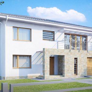 Фото 23 - Zx4 - Двухэтажный дом с гаражом для одной машины, с интересным оформлением входной зоны.
