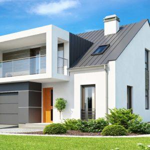 Фото 26 - Zx44 - Современный дом с уютным и функциональным интерьером Интересное сочетание двускатной крыши и кубических форм.