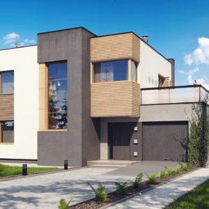Фото 22 - Zx59 - Двухэтажный дом в модернистского дизайна с гаражом и террасой на верхнем этаже.