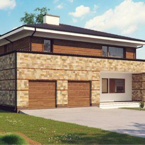 Фото 25 - Zx62 - Проект двухэтажного дома с гаражом для двух авто, с баней.