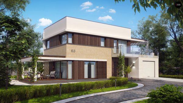 Фото 2 - Zx63 - Современный элегантный дом с гостиной с фронтальной стороны.