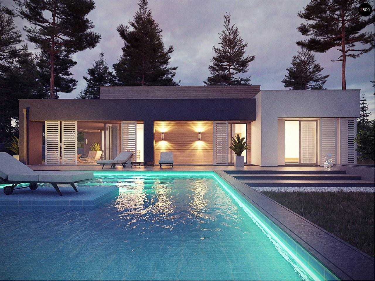 Дом с плоской крышей и басейном