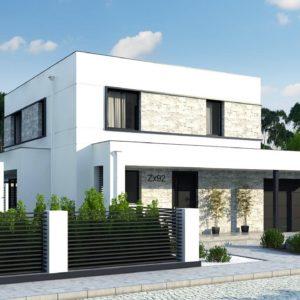 Фото 29 - Zx92 GP - Проект двухэтажного дома с дополнительной комнатой на первом этаже и гаражом на один автомобиль.