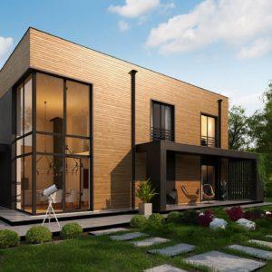 Фото 30 - Zx93 - Проект современного двухэтажного дома с вторым светом и большой площадью остекления.