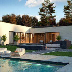 Фото 2 - Zx99 - Одноэтажный дом в современном стиле  с гаражом на 3 машины,  с плоской кровлей.
