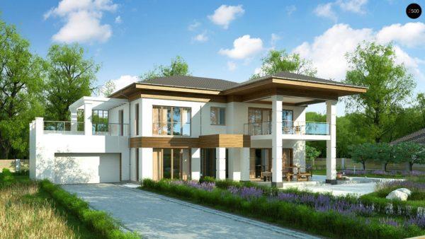 Фото 1 - Zz201 - Проект стильного и просторного дома с элементами классической архитектуры.