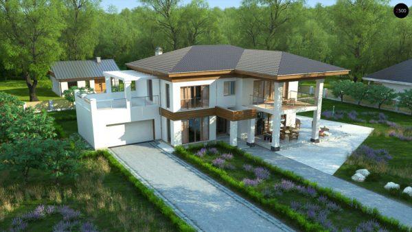 Фото 4 - Zz201 - Проект стильного и просторного дома с элементами классической архитектуры.