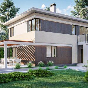 Фото 3 - Zz63 B - Современный двухэтажный проект дома с навесом.