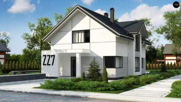 Фото 1 - Zz7 - Проект оригинального двухуровневого современного дома без гаража.