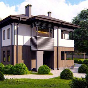 Фото 5 - Zz9 - Проект двухэтажного просторного дома с панорамными окнами и камином.