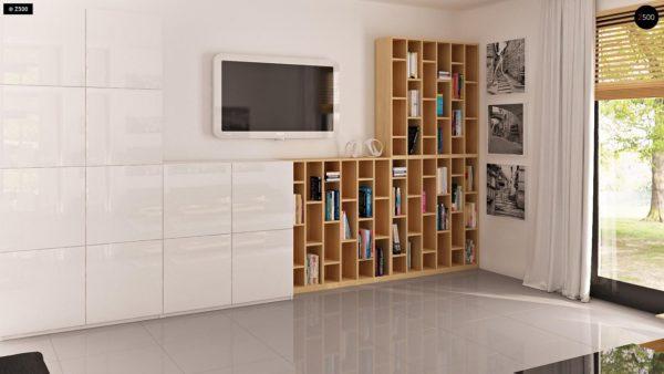 Фото 5 - Z124 - Проект функционального дома с эркером в столовой дополнительной спальней на первом этаже.