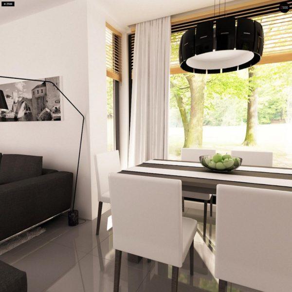 Фото 9 - Z124 - Проект функционального дома с эркером в столовой дополнительной спальней на первом этаже.